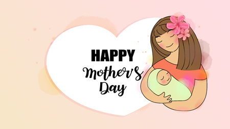 Happy mom with her baby. Mothers day. Family holiday and togetherness. Mom and child Health. Vector illustration