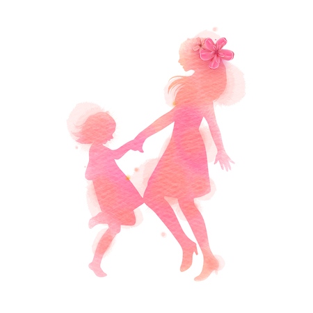 Happy mom and girl dancing silhouette on watercolor background. Mother and daughter. Happy mothers day. Digital art painting. Vector illustration Illustration