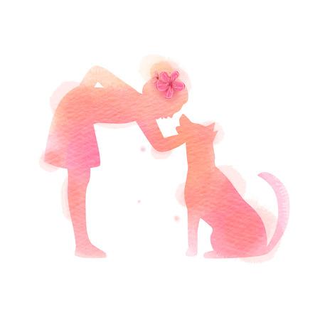 Meisje spelen met hond silhouet op aquarel achtergrond. Het concept van vertrouwen, vriendschap en dierenverzorging. Digitale kunst schilderij. vector illustratie