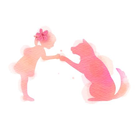 Meisje spelen met hond silhouet op aquarel achtergrond. Het concept van vertrouwen, vriendschap en dierenverzorging. Digitale kunst schilderij. vector illustratie Vector Illustratie