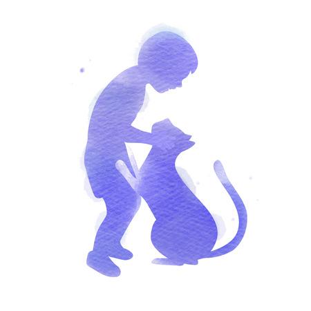 Verzorging van huisdieren. Een jongen die met kattensilhouet speelt op waterverfachtergrond Het concept van vertrouwen, vriendschap. Digitale kunst schilderen