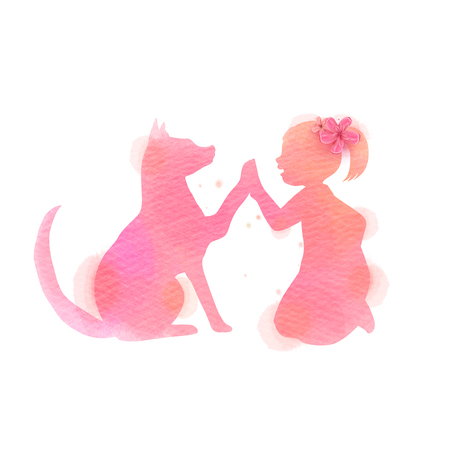 Pet care. A Boy playing with cat  silhouette on watercolor background. The concept of trust, friendship . Digital art painting