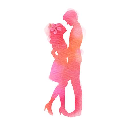 Jeune couple amoureux silhouette plus aquarelle abstraite. Concept de la Saint-Valentin. Peinture d'art numérique