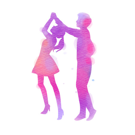 Silhouettes of  happy young couple dancing. Happy Valentines Day. Watercolor style