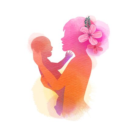 Happy mother's day. Side view of Happy mom with baby  silhouette plus abstract watercolor painted. Double exposure illustration. Digital art painting.