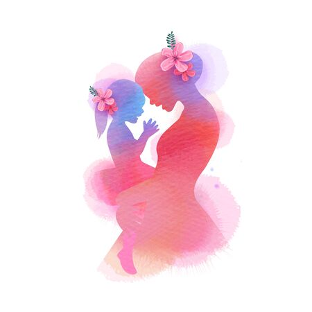 Happy mothers day. Side view of Happy mom with daughter  silhouette plus abstract watercolor painted.Happy  mothers day. Double exposure illustration. Digital art painting. Ilustrace