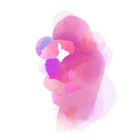 Gelukkige Moederdag. Zijaanzicht van gelukkige moslim moeder met haar baby silhouet plus abstracte aquarel geschilderd. Moslim mama met haar kind. Dubbele blootstelling illustratie. Digitale kunst schilderij.