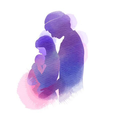 Side view of happy Muslim family. silhouette plus abstract watercolor painted. Double exposure illustration. Digital art painting. Ilustrace