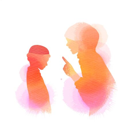 Happy mothers day. Side view of Happy Muslim mom with her baby  silhouette plus abstract watercolor painted. Muslim mama with her child. Double exposure illustration. Digital art painting. Ilustrace