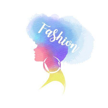 Illustration of woman beauty salon silhouette plus abstract watercolor.  Fashion logo. Digital art painting. Vector illustration. Ilustrace