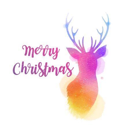 Watercolor deer head. Merry Christmas and happy new year. Digital art painting.