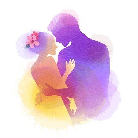 Romantic Valentine lovers silhouette on watercolor background. Love at first sign concept.  Engagement couple. Happy valentines day Ilustrace