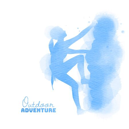 Watercolor of side view of young  woman rock climber. Outdoor adventure concept.