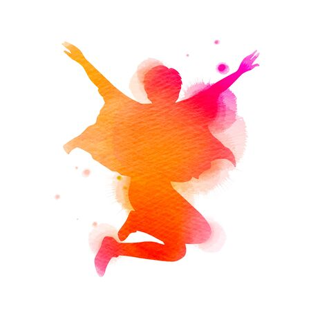 Watercolor of  woman jumping into the air isolated on white background. Ilustrace