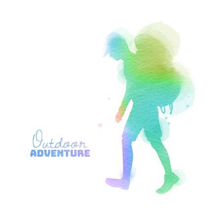Watercolor of Sporty man walking. Travelers traveling concept. Digital art painting.