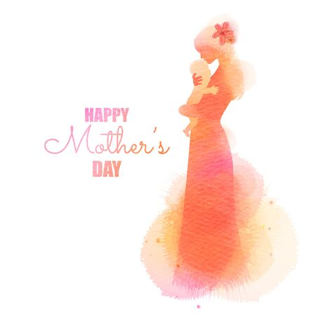 Side view of Happy mom holding adorable  baby child silhouette plus abstract water color painted.