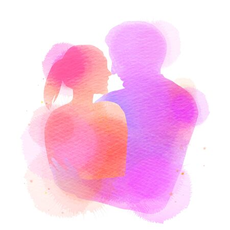 Romantic Valentine lovers silhouette on watercolor