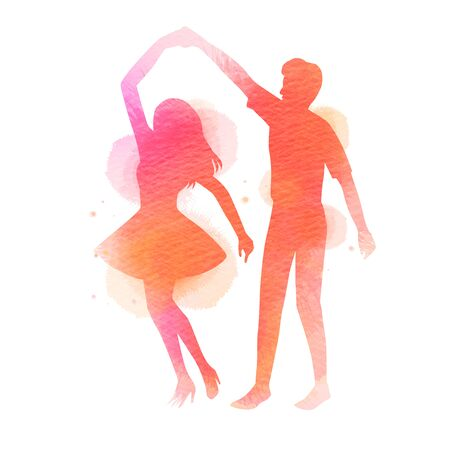 Romantic Valentine lovers dancing silhouette on watercolor 일러스트