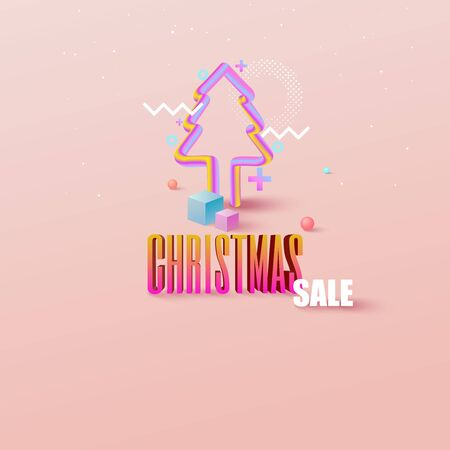 Geometry colorful Christmas  with copy-space for your product. Ilustrace