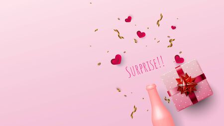 Pastel pink bottle and pink gift box with copy-space on sweet pink Stock Illustratie