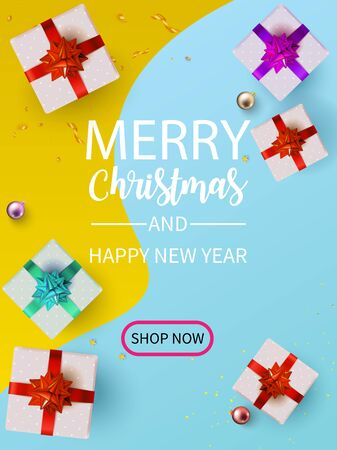 Christmas and Happy New Year or Party  with Gift