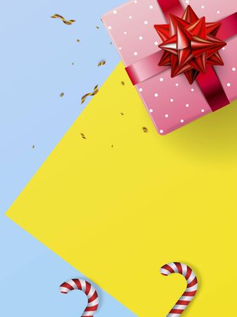 Flat Lay Christmas and Happy New Year or Party  with Gift