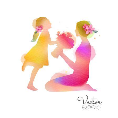 Schönen Muttertag. Seitenansicht der Kindertochter gratuliert Mama und gibt ihrer Blumensilhouette plus abstraktes Aquarell gemalt.