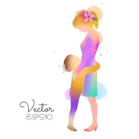 Happy mothers day. Side view of Happy little boy hugs his mother tightly silhouette plus abstract watercolor painted.Double exposure illustration. Digital art painting. Vector illustration Ilustrace