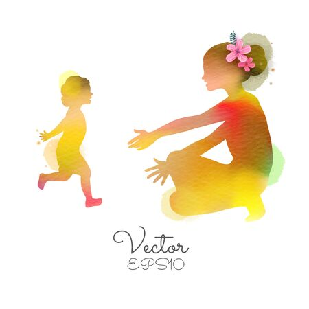Happy mothers day. Young mother and little cute girl daughter run to hug her mom silhouette plus abstract watercolor painted.Double exposure illustration. Digital art painting. Vector illustration.