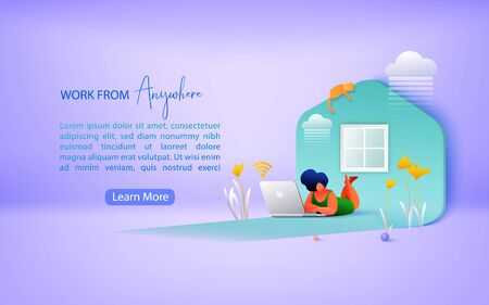 Concept of remote working and work from anywhere. Working from home during Covid-19. Landing page template.  Vector illustration.