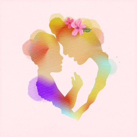 Happy mother's day. Side view of Happy mom with her child silhouette plus abstract watercolor painted. Happy mother's day. Double exposure illustration. Digital art painting. Vector illustration