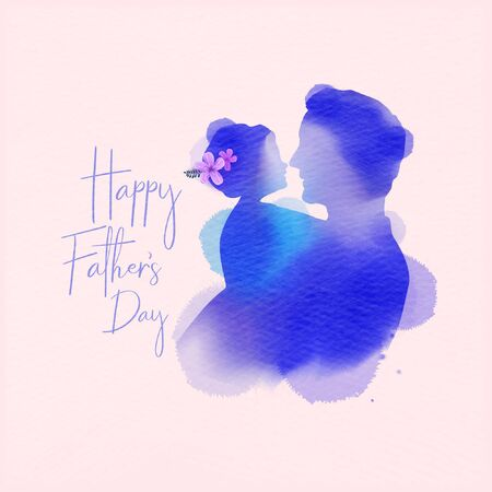 Happy fatherr's day. Side view of Happy family daughter hugging dad silhouette plus abstract watercolor painted.Double exposure illustration. Digital art painting. Vector illustration. Çizim