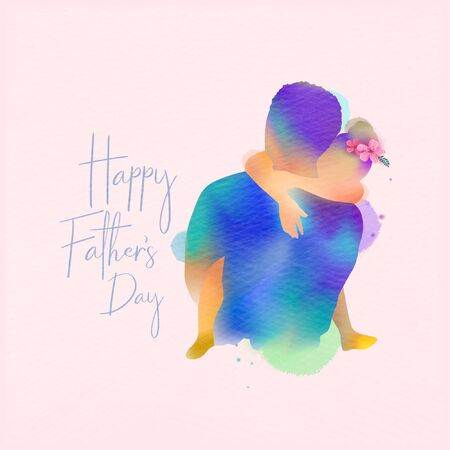 Happy fatherr's day. Happy family daughter hugging dad silhouette plus abstract watercolor painted.Double exposure illustration. Digital art painting. Vector illustration.