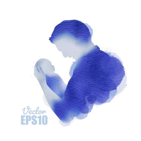 Happy fatherr's day. Side view of Happy family father holding a newborn baby silhouette plus abstract watercolor painted.Double exposure illustration. Digital art painting. Vector illustration.