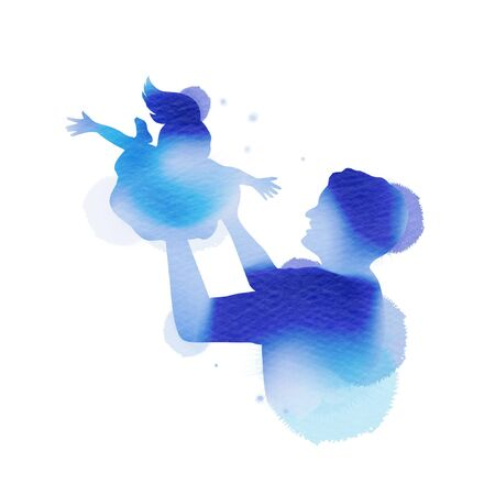 Happy fatherr's day. Happy family father catching and playing with his daughter silhouette plus abstract watercolor painted.Double exposure illustration. Digital art painting. Vector illustration. Çizim
