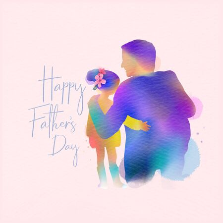 Happy father's day. Happy family daughter hugging dad silhouette plus abstract watercolor painted.Double exposure illustration. Digital art painting. Vector illustration. Çizim