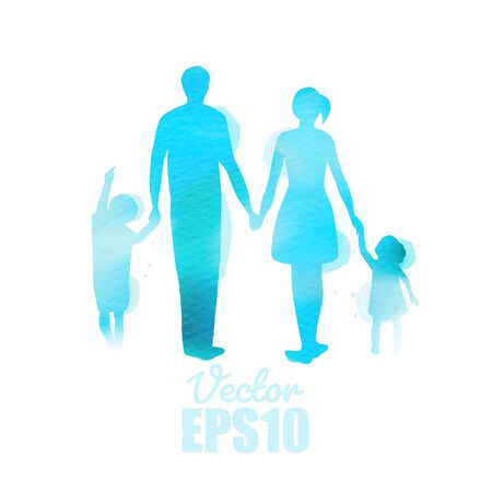 Parents having good time with their child.  Happy family walking together isolated on white background. Watercolor style.  Vector illustration. Ilustracja