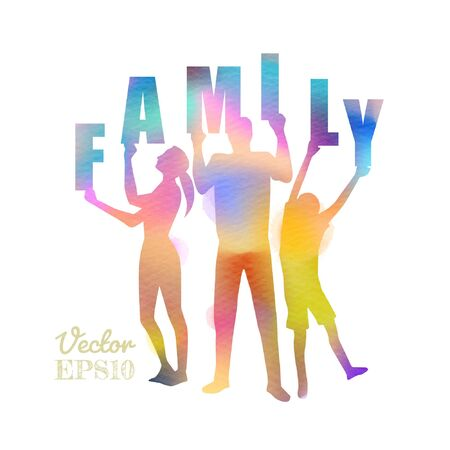 Double exposure illustration. Happy family  holding letters word FAMILY silhouette plus abstract water color painted.  Digital art painting. Vector illustration