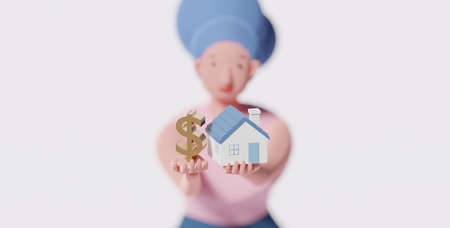 3D cartoon character of a woman holding US dollar symbol and home model. Real estate or property investment. Reverse mortgage, or transforming assets into cash concept. House Loan, Rent