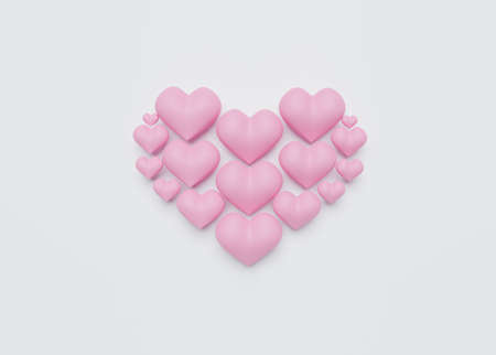 3D of  love concept for Happy Women's, Mother's, Valentine's Day, birthday greeting card design.