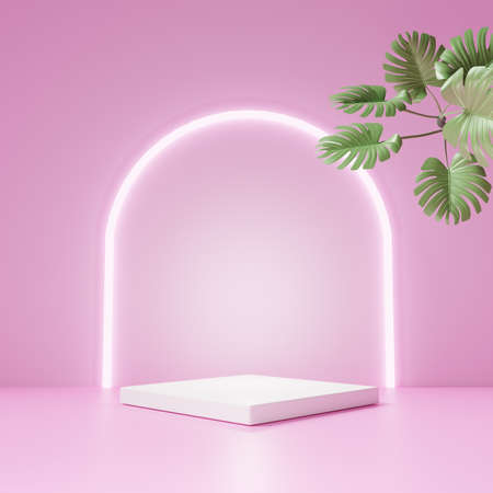 3D rendering of pedestal podium, Abstract pink minimal display empty space. Geometry podium for beauty cosmetic products or showcase. Standard-Bild