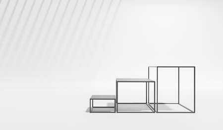 3D rendering of pedestal podium, Abstract minimal display empty space. Geometry podium for beauty cosmetic products or showcase. Standard-Bild