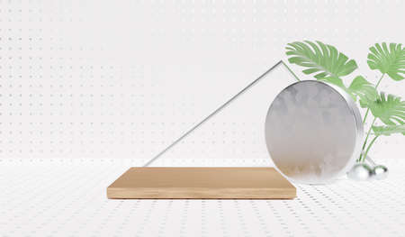 3D rendering of pedestal podium, Abstract minimal display empty space with Monstera leaves. Geometry podium for beauty cosmetic products or showcase.
