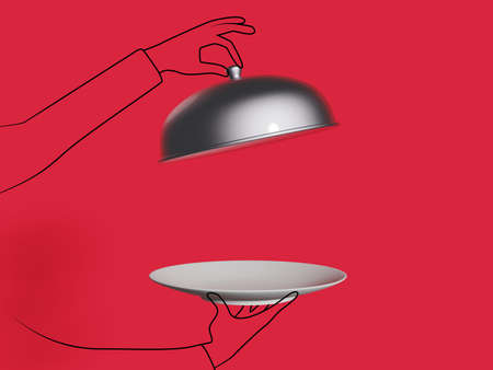 3D and doodles of side view of a waiter holding an empty plate against red background