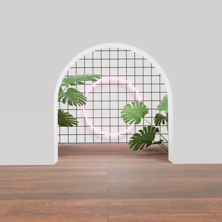 3D rendering of pedestal podium, Abstract minimal display empty space with Monstera leaves. Geometry podium for beauty cosmetic products or showcases. Standard-Bild