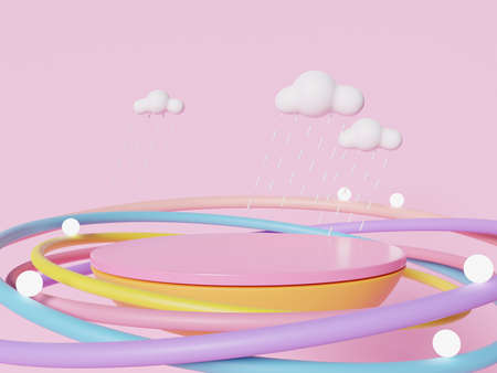 3D rendering of colorful pastel clouds and rainbow with empty space for kids or baby products.