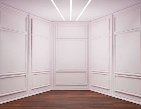 3D of vintage modern interior of exhibition room, empty room