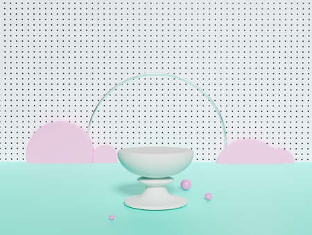 3D rendering of pedestal podium, Abstract pastel color minimal display empty space. Geometry podium for beauty cosmetic products or showcase.