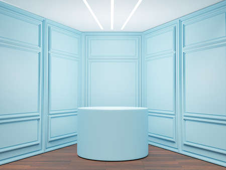 3D of vintage modern interior of exhibition room, empty room with empty podium.