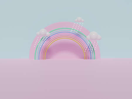 Stand and display colorful pastel clouds and rainbow  in the baby room interior. 3D rendering. A scene for advertising, Minimalist mockup for podium display or showcase.